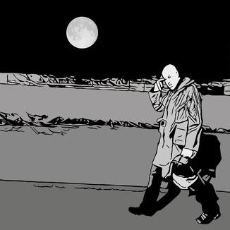 Mondlicht-Szene, Mann im Regenmantel, Vektorgrafik