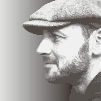 Portrait von Philipp Brunschwiler Profilbild mit Dreitagebart und Schiebermütze 2021 vektorisiert