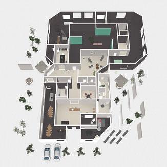 Grundriss Plan 3D von Oben, Museum Atelier Office Restaurant Wohnen alles in einem Gebäude Komplex