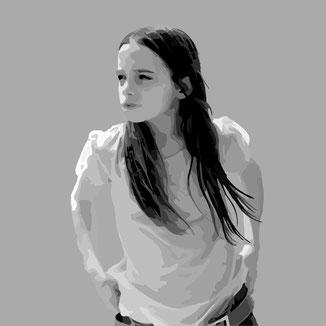 Vektor Portrait eines Mädchens mit langen Haaren von polydual illustriert