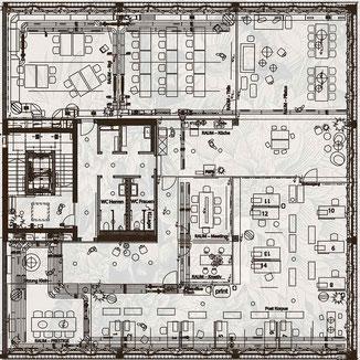 Grundriss für Raumkonzept, Möblierung, Beleuchtung, Belüftung, Akustik, Raumgestaltung durch Philipp Brunschwiler