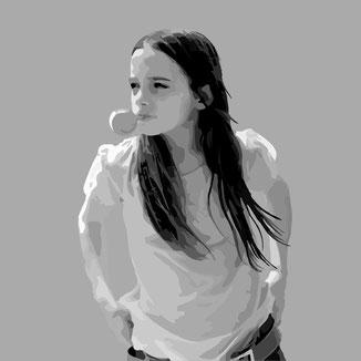 Girl with a bubble gum vector Portrait