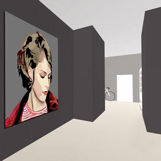 digitale Kunstgalerie zeigt ein Portrait einer Frau Bild gestaltet von Philipp Brunschwiler