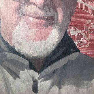 Detail einer Vektorgrafik Profilbild auf Holzplatte gedruckt