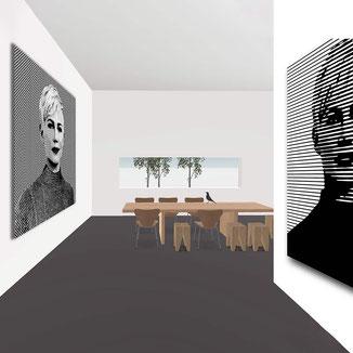 Visualisierung 3D Grundriss mit Kunst von POLYDUAL an den Wänden.