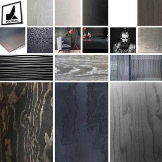 Moodoard Collage mit Metall Holz Stoff in schwarz  Tönen. Verschiedenen Strukturen Optiken und Haptiken