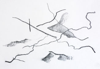 Zeichnung mit Kohle inspiriert von Kandinsky
