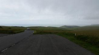 Bei guter Sicht würde man die ersten Kreidefelsen erkennen - jedoch das Wetter... englisch eben...