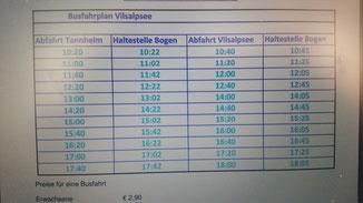 Busfahrplan Tannheim - Vilsalpsee