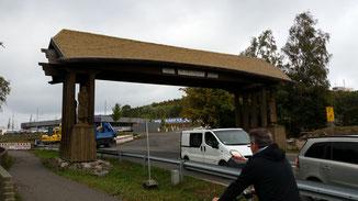 """Am Ortseingang von Baabe der Hinweis auf die ca. 30 Quadratkilometer große Halbinsel """"Mönchgut"""", im Südosten Rügens gelegen..."""