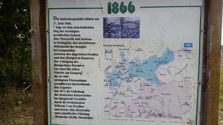 Gedenktafeln beschreiben die Schlacht um Bad Langensalza...