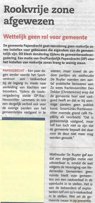 Artikel in Papendrechts Nieuwsblad 3 april 2019