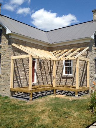 Traditional timber porch on a heritage farmhouse