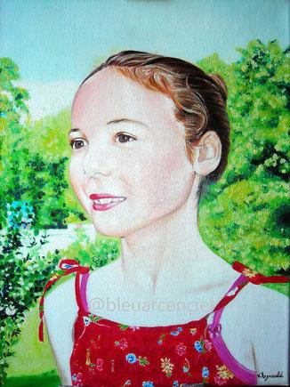 2011 Peinture à l'huile sur toile de lin 38/46 cm d'après photo