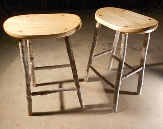 Paulownia & soap tree saplings stools, shaped seats, shellac & wax finish, $700/pair.