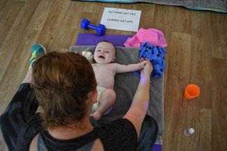 Louise & George enjoying Baby Massage Time