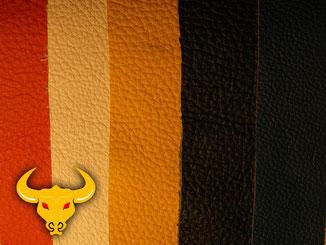 Lederreinigung und Lederpflege von hellem Glattleder mit Golden Bull Readymix.