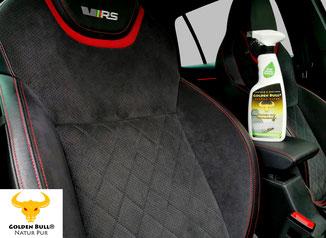 Golden Bull Textile Clean Polster- und Textilreiniger für schwarze Autositze.