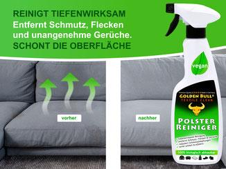 Auch diese rote Stoffcouch kann mit Golden Bull Textile Clean gepflegt werden.