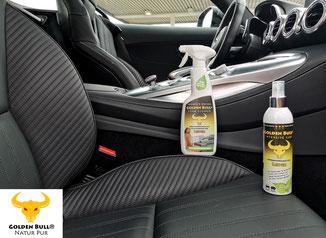 Ein schwarzer Ledersitz im Mercedes Benz AMG GT nach der Reinigung und Pflege mit den Produkten von Golden Bull. Wie auch das gesamte Cockpit erstrahlt auch der Ledersitz in neuem Glanz.