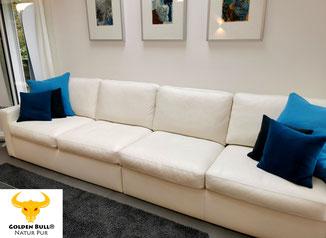 Lederreinigung und Lederpflege von Sofa und Couch mit dem Golden Bull® Foam Cleaner.