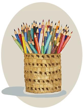 Farbstifte gemalt gezeichnet Ausmalbilder Illustration Stifte