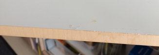 Hier eine normal gelöste Folie frisch verleimt. Man sieht die Leimspuren noch!