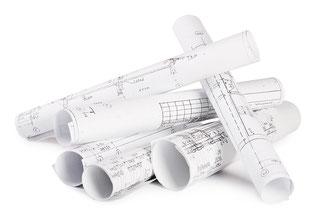 Baupläne eines Architekten