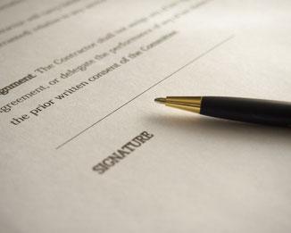 Vertrag, Unterschrift