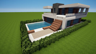 minecraft modern house with pool download