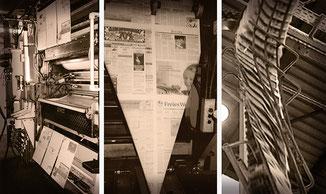 Rollenoffset-Rotationsdruckmaschine Zeitungsdruck Druckwerk Druckplatten Trichter Kette mit Tageszeitungen