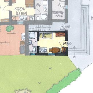 1-Zimmer Ferienappartement, Monteurwohnung, Klein und Fein, inkl. nutzung Sauna