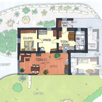 Exklusive Ferienwohnung mit Garten, Terrasse Lounge, Grillstation und weiteren Highlights