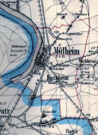 Mülheim in den Grenzen von 1863