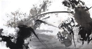 盛塘荷24 LONG LOTUS 24 93X175CM 绢本水墨 INK ON SILK 2012