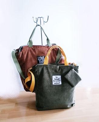 Damentasche Simona, Kunstleder bronze, Jacquard Reh, Unikat, Handmade