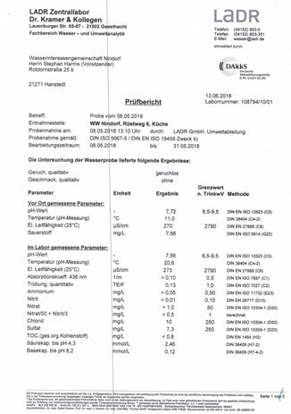 Wasseranalyse Nindorf Juni 2018 Seite 1 Vollständiger Prüfbericht siehe Download: