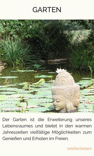 Garten, Gartengestaltung, Gartenoase, Feng Shui, Teich, Meditation, Stille, Seerosen