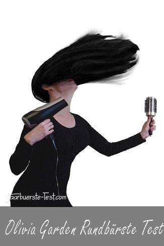 Frau mit Fön und Rundbürste, Frau mit fliegenden Haaren