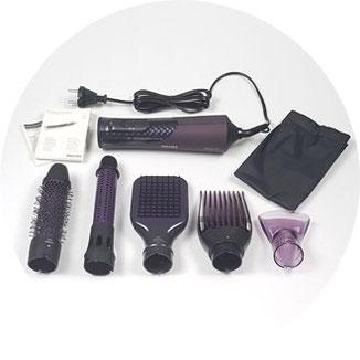Philips Warmluftstyler: Rundbürste 38mm, Rundbürste mit einziehbaren Borsten 32mm, Paddle Brush, Volumenaufsatz, Stylingdüse, Aufbewahrungstasche, Philips Zubehör