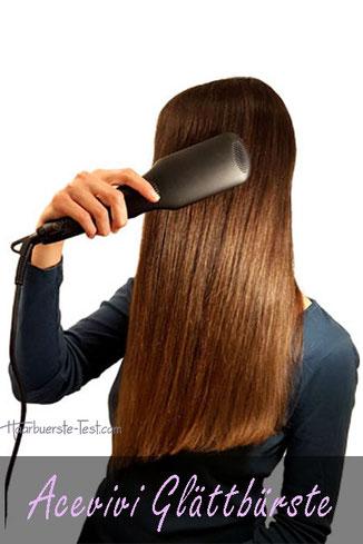 Frau, lange glatte Haare mit Acevivi Hair Straightener, Acevivi Glättbürste Test