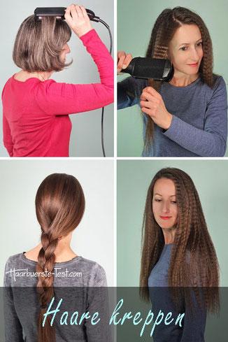 haare kreppen, gekreppte haare, kreppeisen anwendung