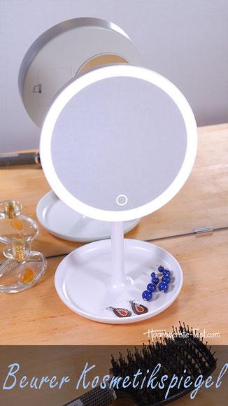 Kosmetikspiegel mit Beleuchtung Test: Beurer Kosmetikspiegel mit Licht, Ablage und 5-fach Vergrößerung