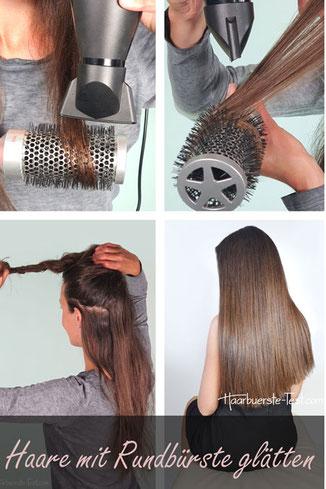 Haare mit Rundbürste glatt föhnen