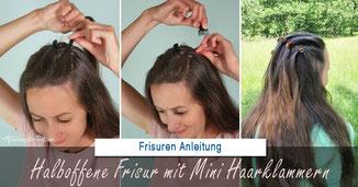 halboffene Frisur mit Mini Haarklammern, halboffene frisur, einfache halboffene frisur