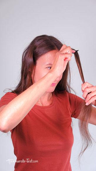 haarsträhnen breite locken mit glätten, locken mit glätteisen haarsträhne