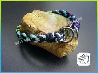 Flachgeflochtenes Halsband aus Paracord mit Steckschnalle, Cross Braid