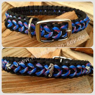 """geflochtenes Halsband verstellbar, Breite ca. 2,5cm, """"Arrow Blaze Bar"""" mit kleinen Seepferdchen und Seesternen"""