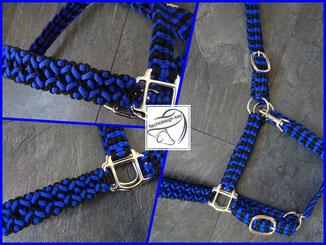 Paracord Halfter, Flechthalfter schwarz/electric blue