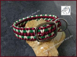 Verstellbares Hundehalsband Wide Solomon aus Paracord geflochten